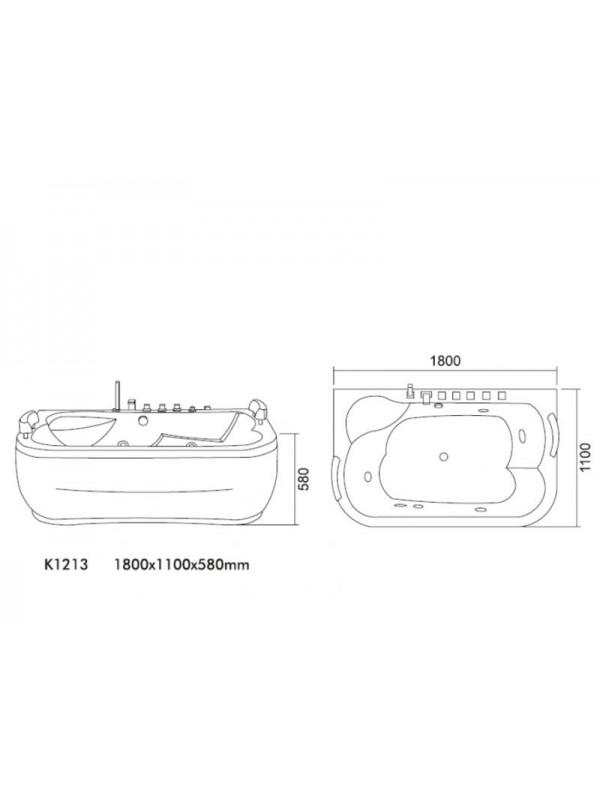 KARAG K-1213 Ακρυλική Μπανιέρα Υδρομασάζ 180x110