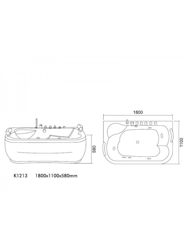 KARAG ELIZA K-1213 Ακρυλική Μπανιέρα Υδρομασάζ 180x110
